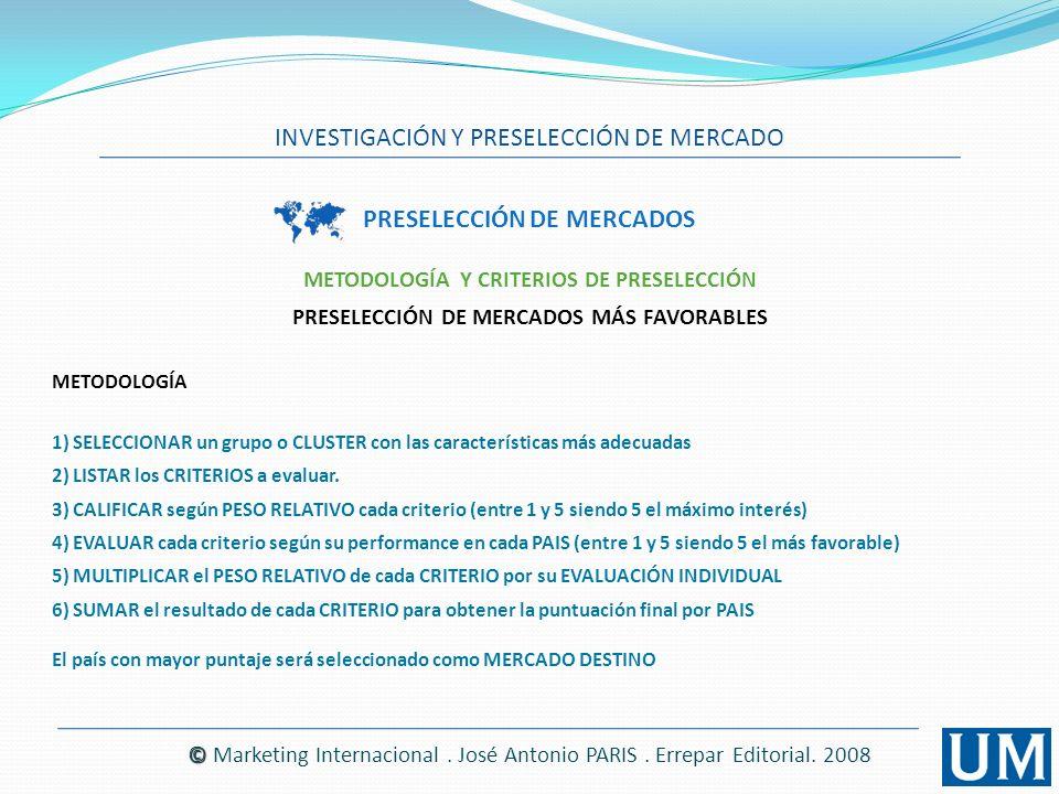 PRESELECCIÓN DE MERCADOS