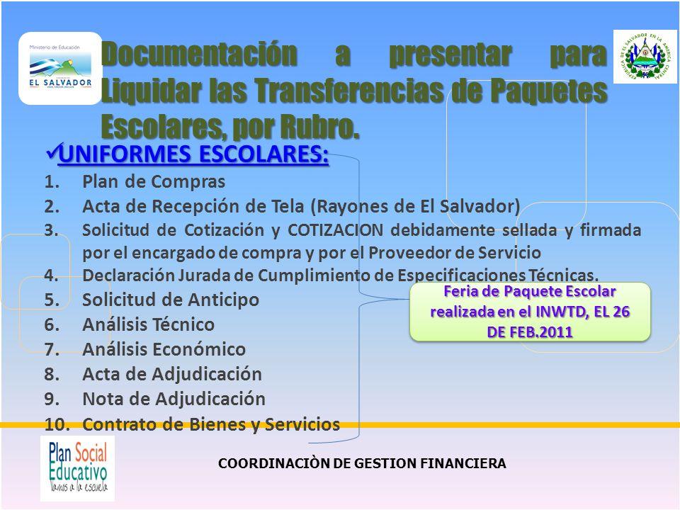 Documentación a presentar para Liquidar las Transferencias de Paquetes Escolares, por Rubro.