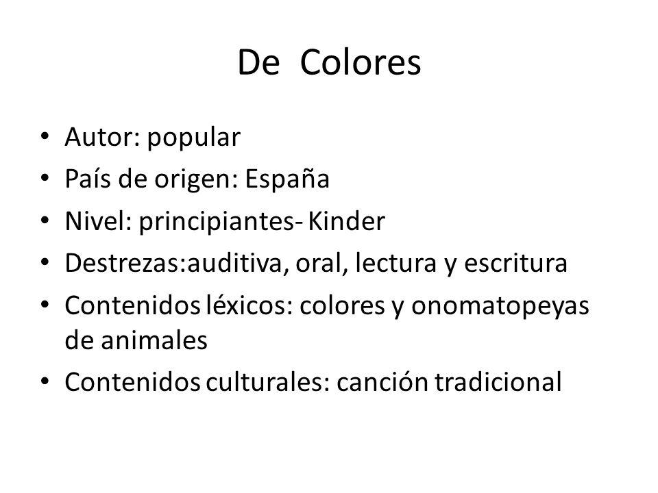 De Colores Autor: popular País de origen: España
