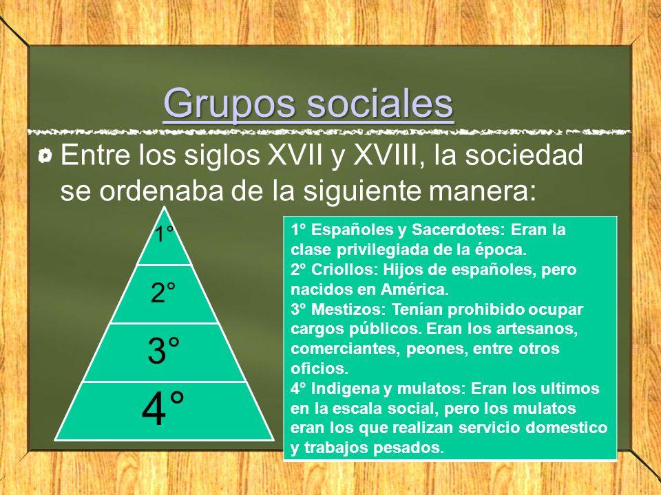 Grupos sociales Entre los siglos XVII y XVIII, la sociedad se ordenaba de la siguiente manera: 1° 2°