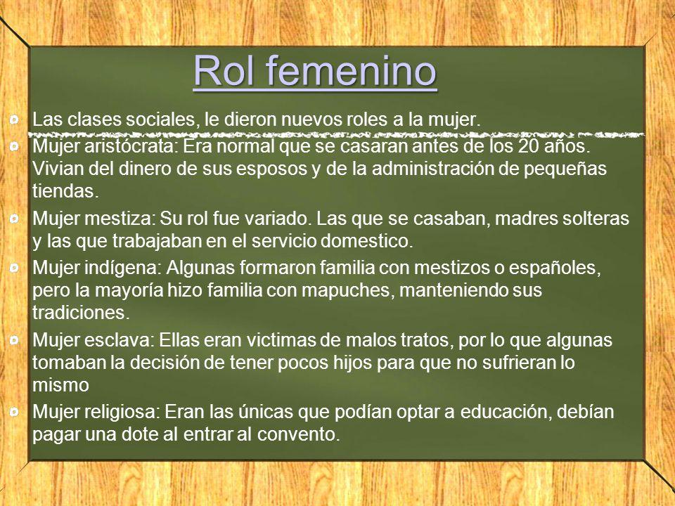 Rol femenino Las clases sociales, le dieron nuevos roles a la mujer.