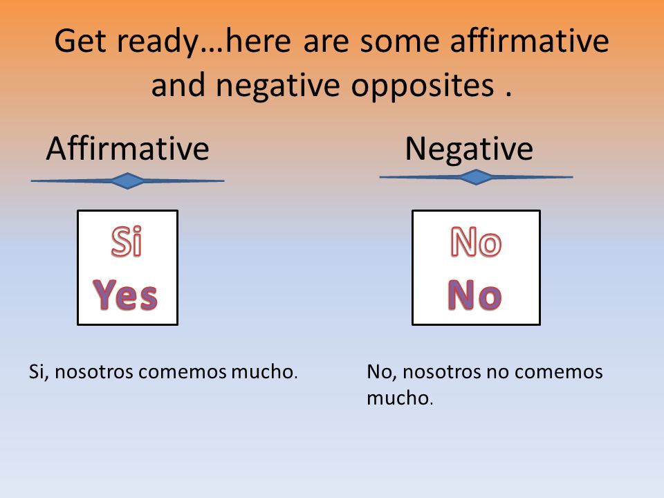 Get ready…here are some affirmative and negative opposites .