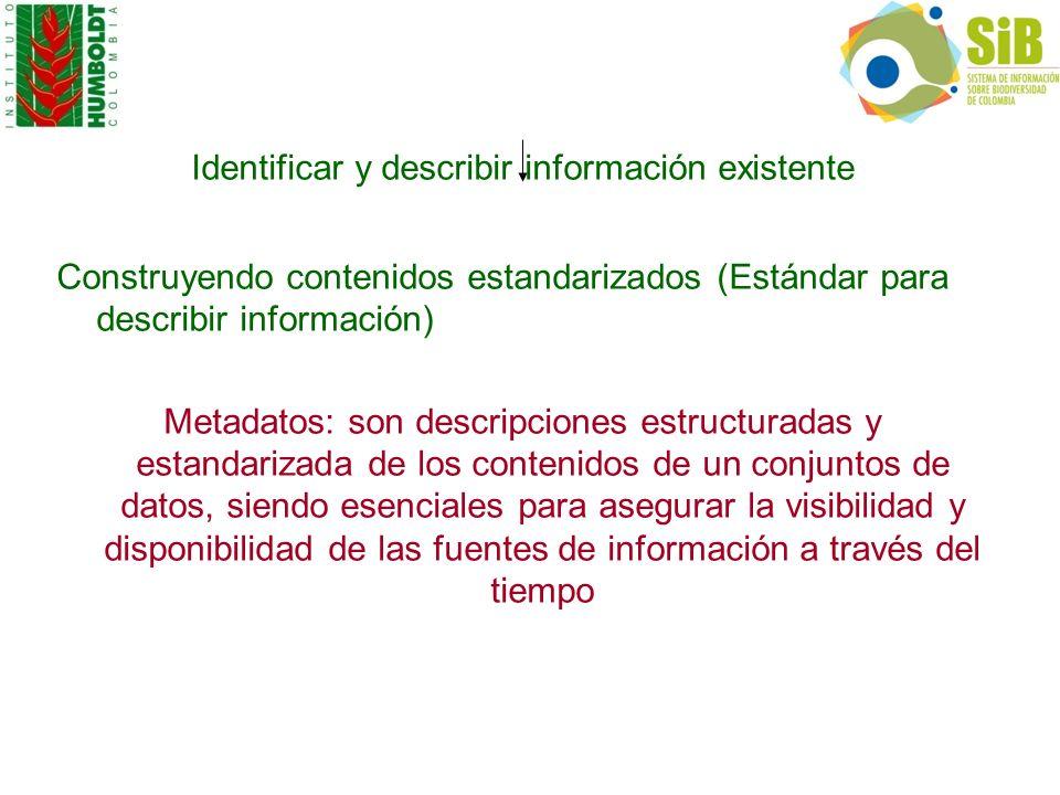 Identificar y describir información existente