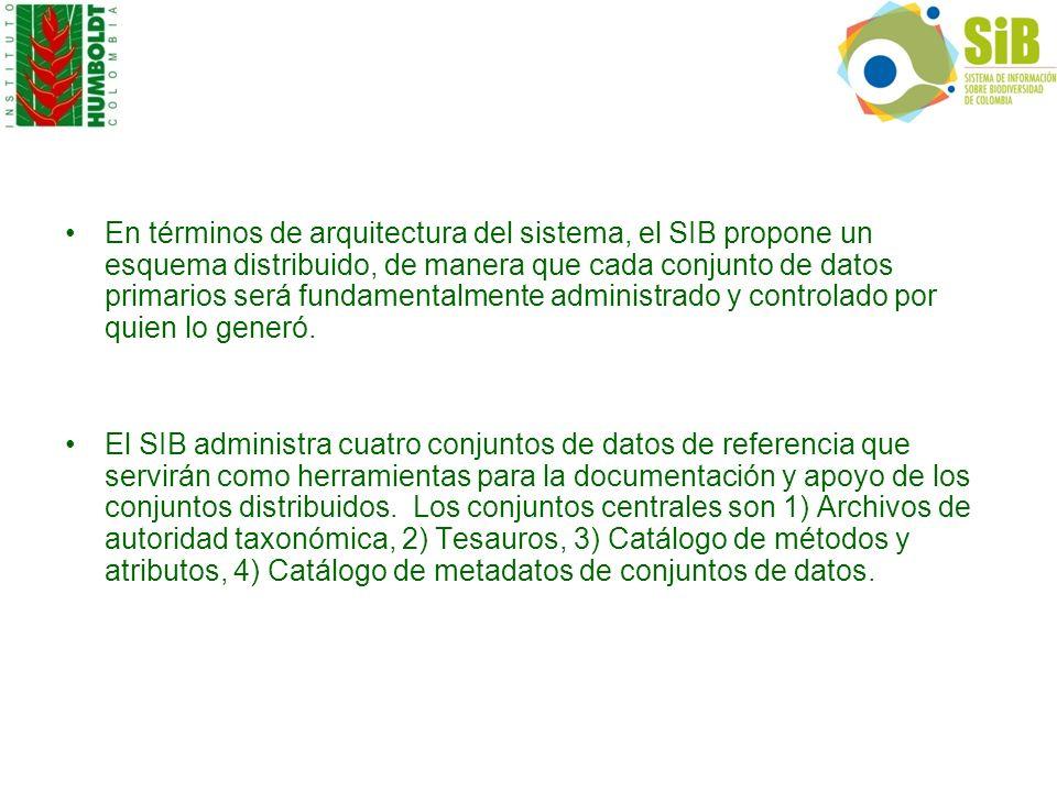 En términos de arquitectura del sistema, el SIB propone un esquema distribuido, de manera que cada conjunto de datos primarios será fundamentalmente administrado y controlado por quien lo generó.