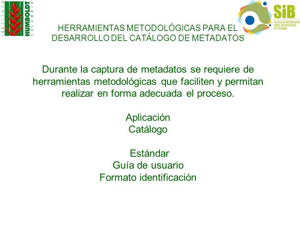 HERRAMIENTAS METODOLÓGICAS PARA EL DESARROLLO DEL CATÁLOGO DE METADATOS Durante la captura de metadatos se requiere de herramientas metodológicas que faciliten y permitan realizar en forma adecuada el proceso.