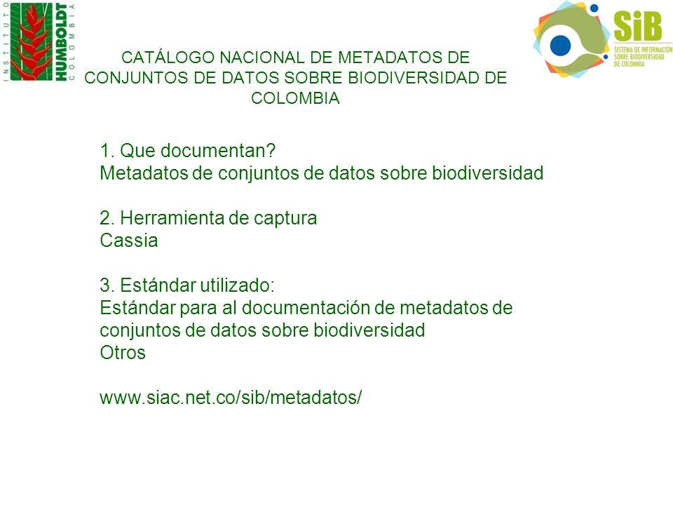 Metadatos de conjuntos de datos sobre biodiversidad