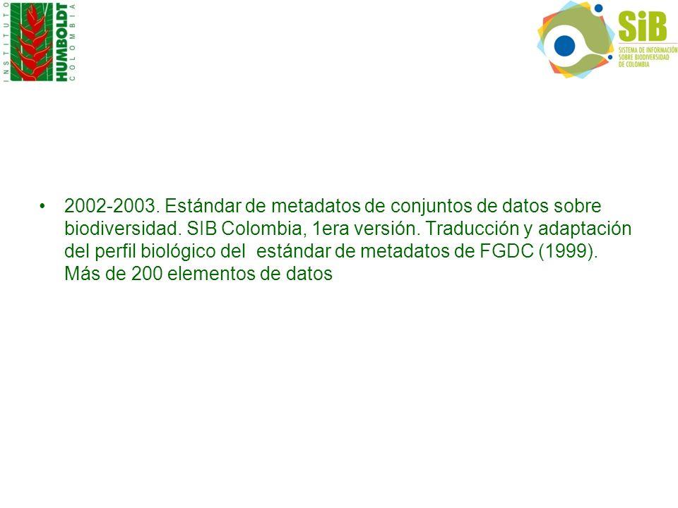 2002-2003. Estándar de metadatos de conjuntos de datos sobre biodiversidad.