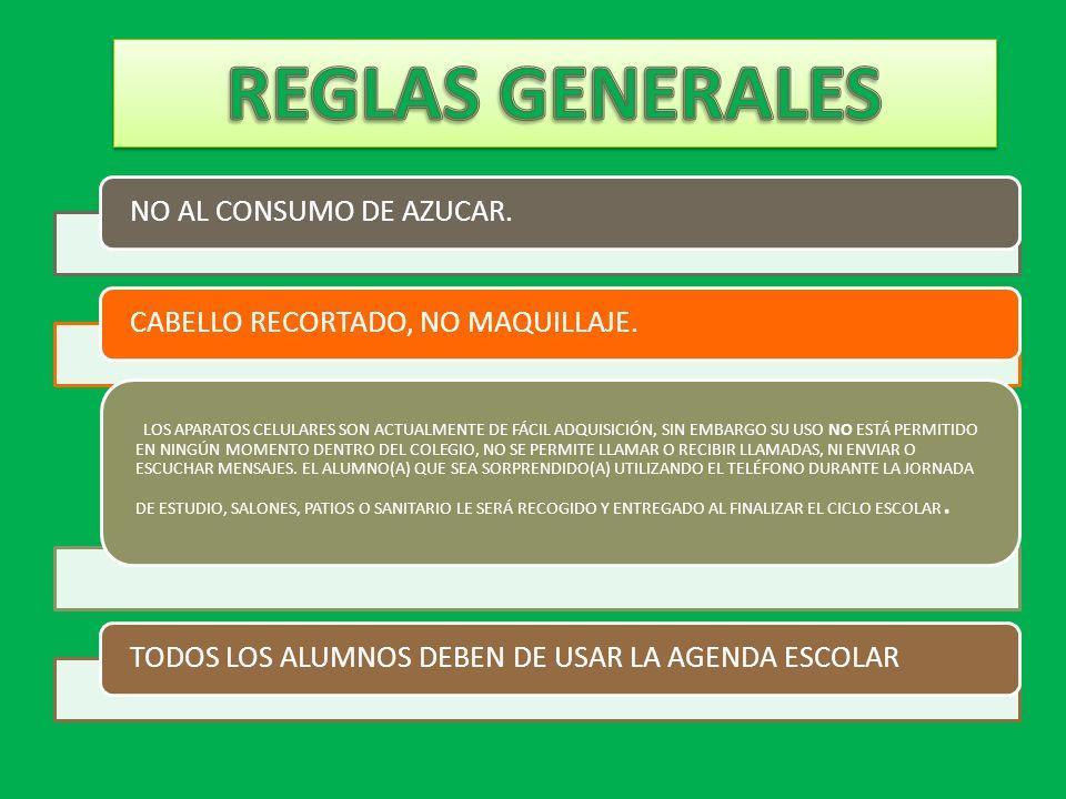 REGLAS GENERALES NO AL CONSUMO DE AZUCAR.