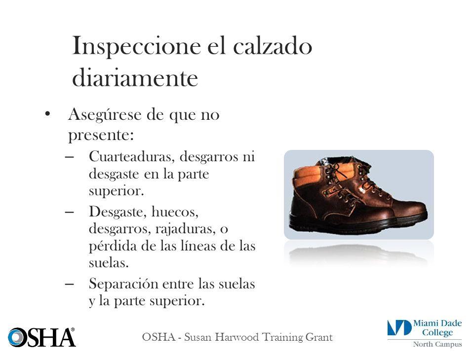 Inspeccione el calzado diariamente