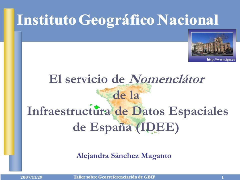 El servicio de Nomenclátor de la Infraestructura de Datos Espaciales