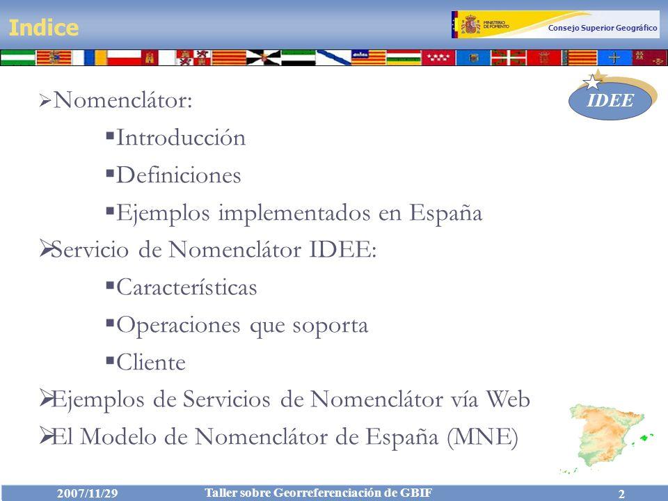 Ejemplos implementados en España Servicio de Nomenclátor IDEE: