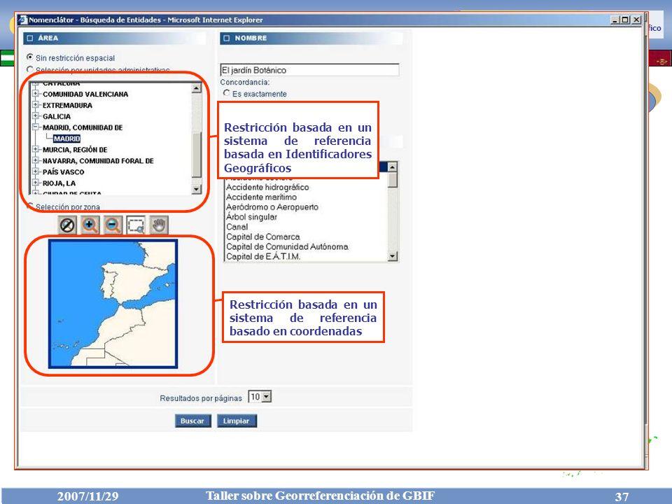 Cliente Restricción basada en un sistema de referencia basada en Identificadores Geográficos.