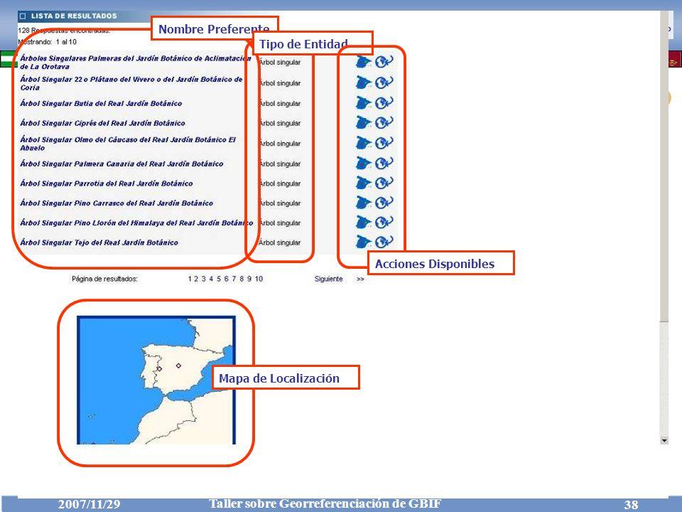 Nombre Preferente Tipo de Entidad Acciones Disponibles Mapa de Localización