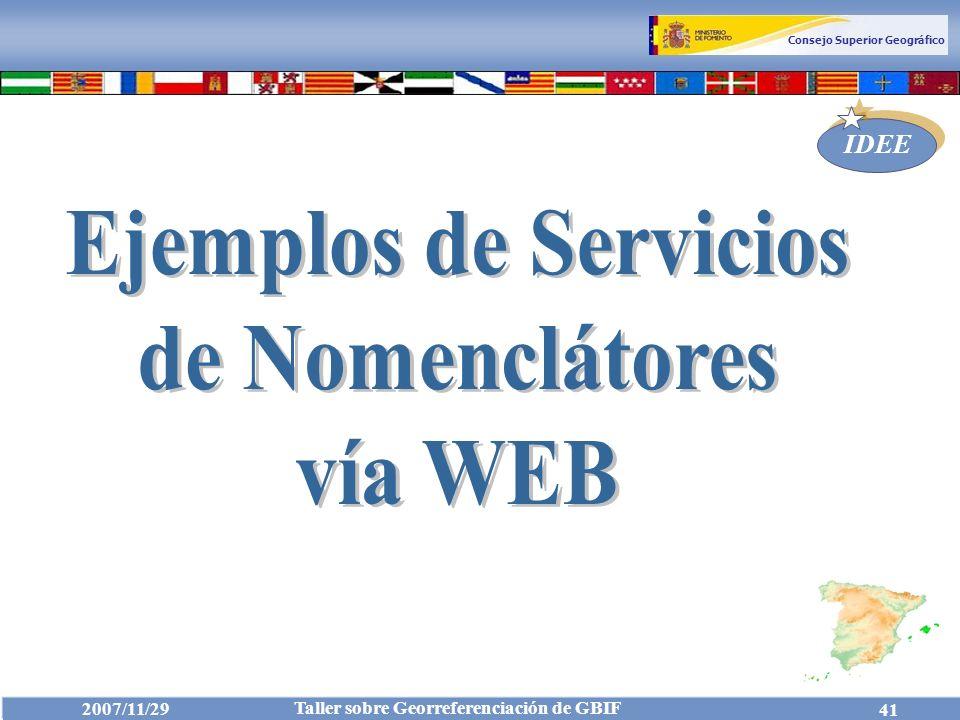 Ejemplos de Servicios de Nomenclátores vía WEB