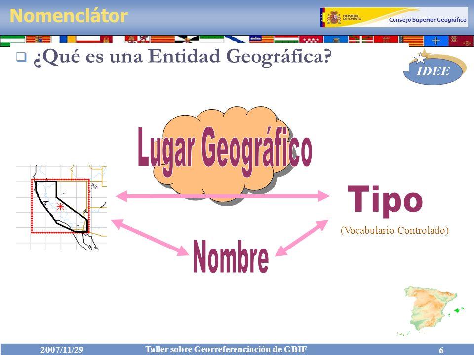 Lugar Geográfico Tipo Nombre