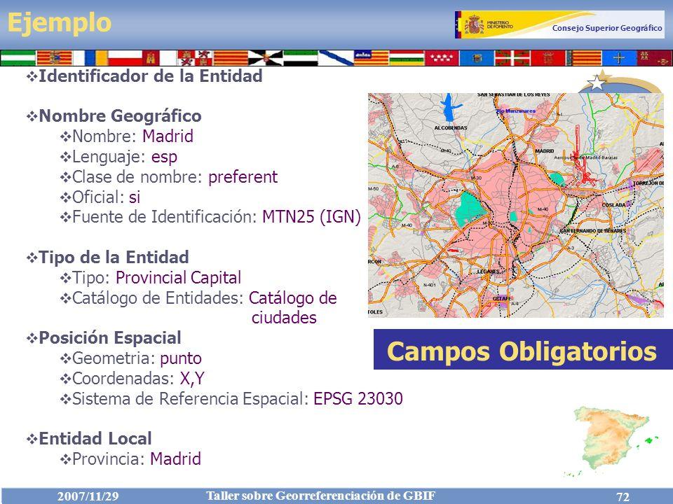 Ejemplo Campos Obligatorios Identificador de la Entidad