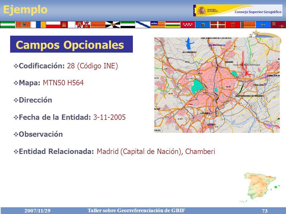 Ejemplo Campos Opcionales Codificación: 28 (Código INE)