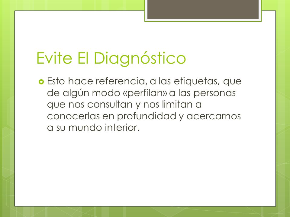 Evite El Diagnóstico