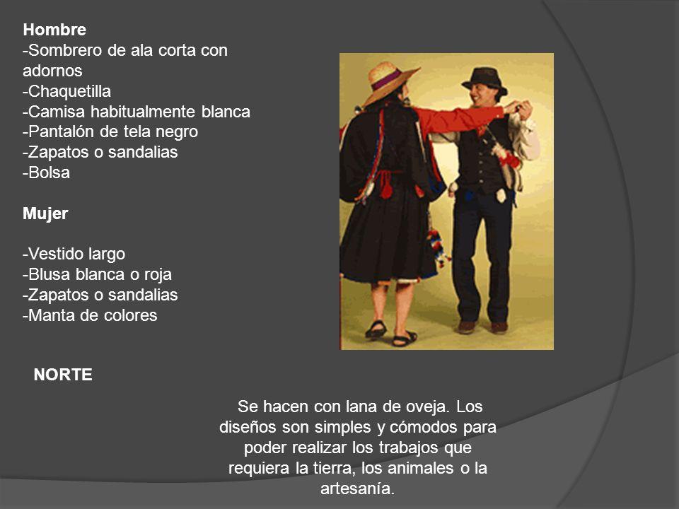 Hombre -Sombrero de ala corta con adornos -Chaquetilla -Camisa habitualmente blanca -Pantalón de tela negro -Zapatos o sandalias -Bolsa