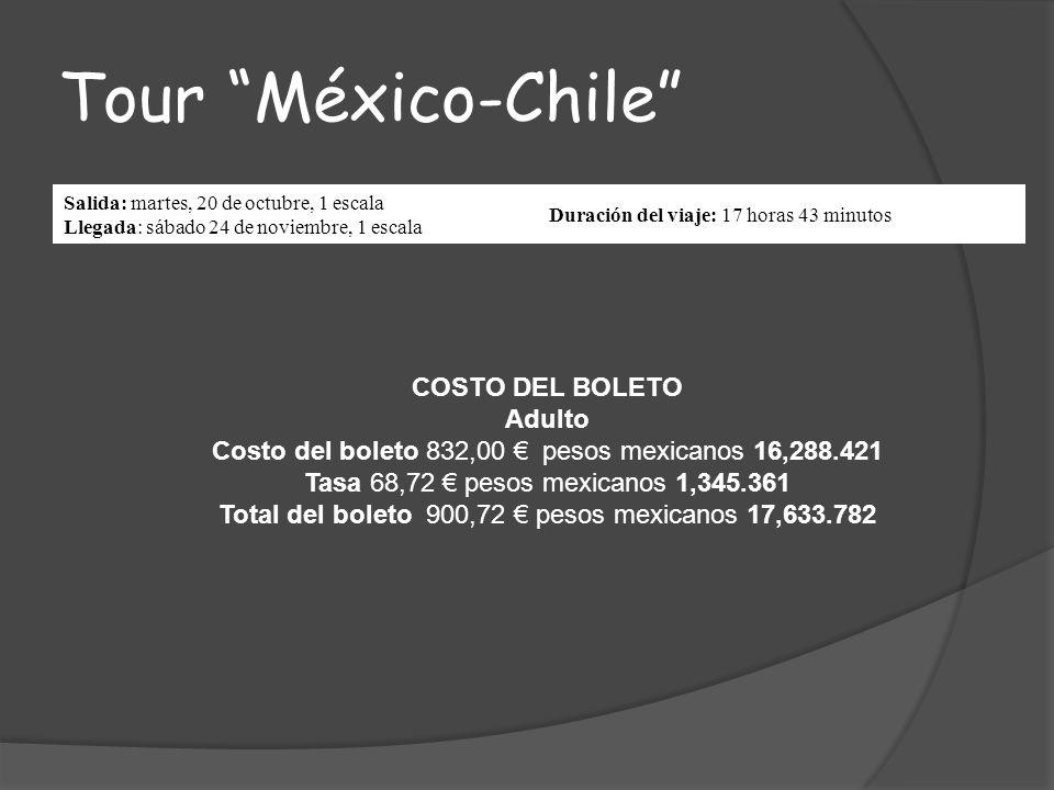 Tour México-Chile COSTO DEL BOLETO Adulto
