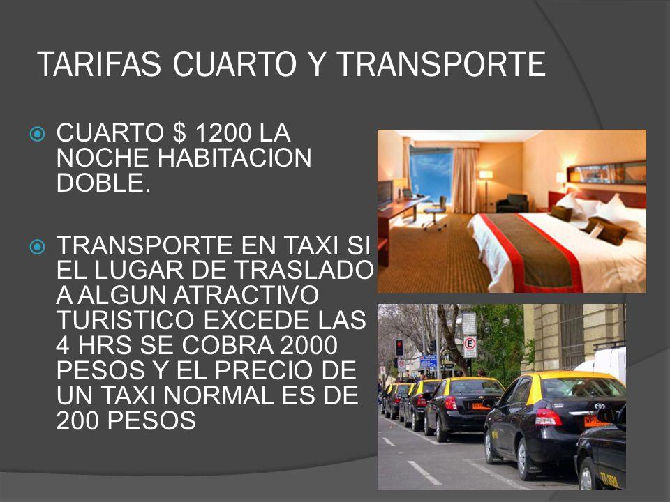 TARIFAS CUARTO Y TRANSPORTE