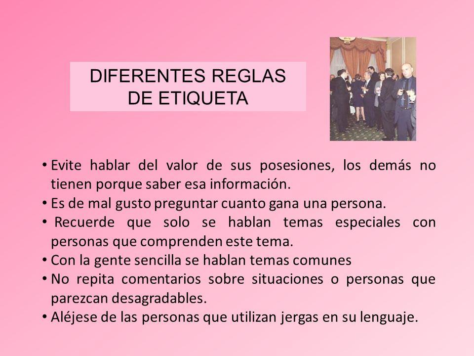 DIFERENTES REGLAS DE ETIQUETA