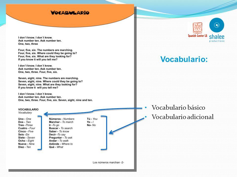 Vocabulario: Vocabulario básico Vocabulario adicional
