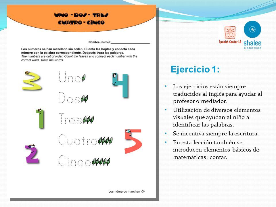 Ejercicio 1: Los ejercicios están siempre traducidos al inglés para ayudar al profesor o mediador.