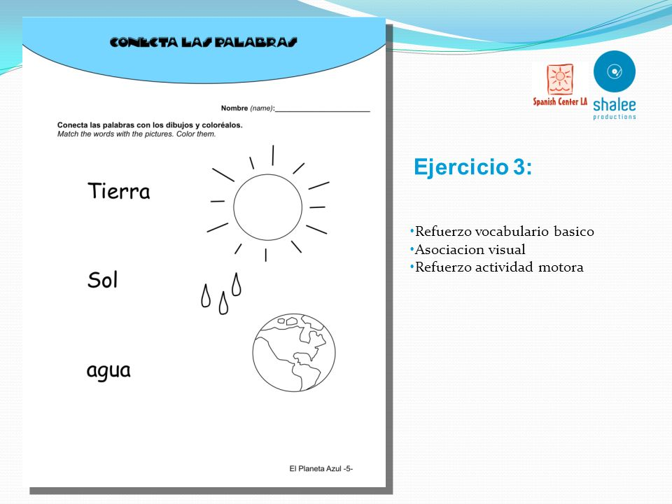 Ejercicio 3: Refuerzo vocabulario basico Asociacion visual