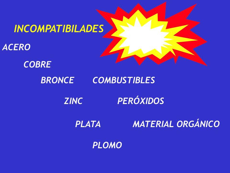 INCOMPATIBILADES ACERO COBRE BRONCE COMBUSTIBLES ZINC PERÓXIDOS PLATA