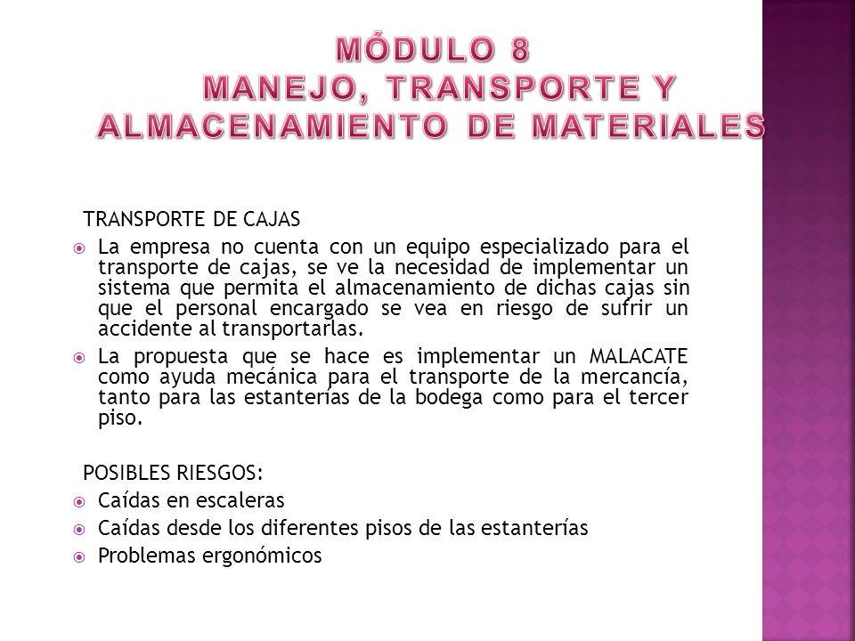 MÓDULO 8 MANEJO, TRANSPORTE Y ALMACENAMIENTO DE MATERIALES