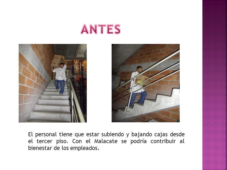 ANTES El personal tiene que estar subiendo y bajando cajas desde el tercer piso.