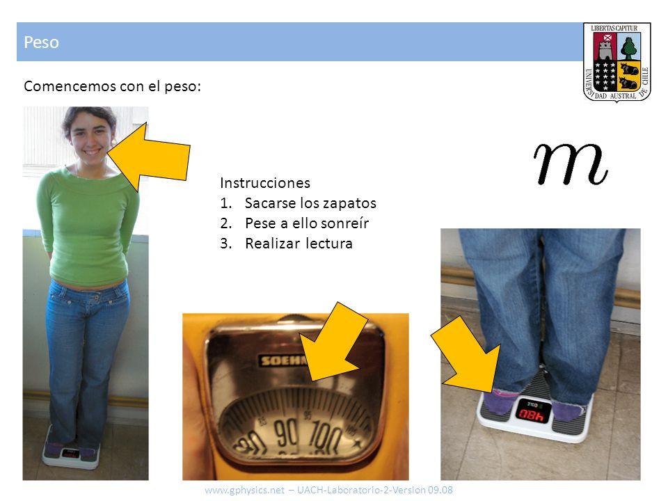 Peso Comencemos con el peso: Instrucciones Sacarse los zapatos