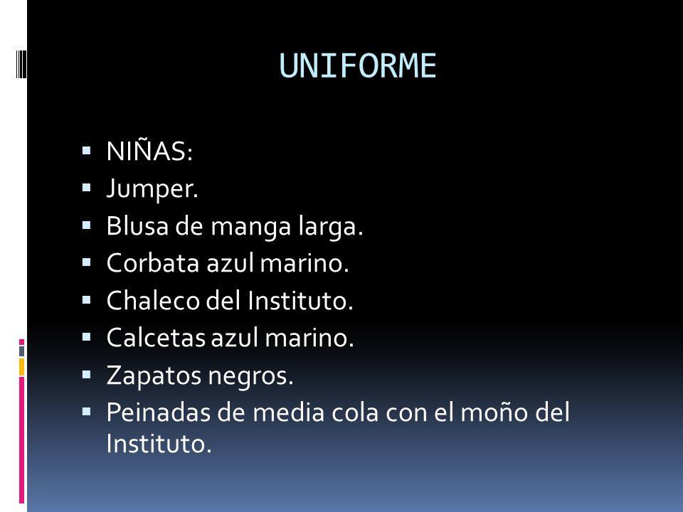 UNIFORME NIÑAS: Jumper. Blusa de manga larga. Corbata azul marino.