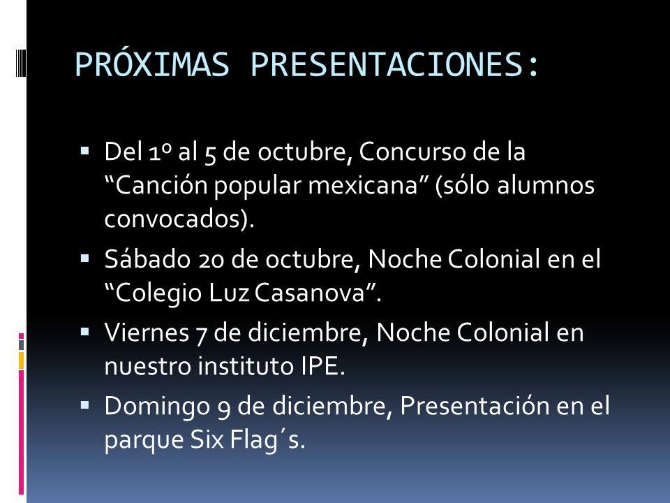PRÓXIMAS PRESENTACIONES:
