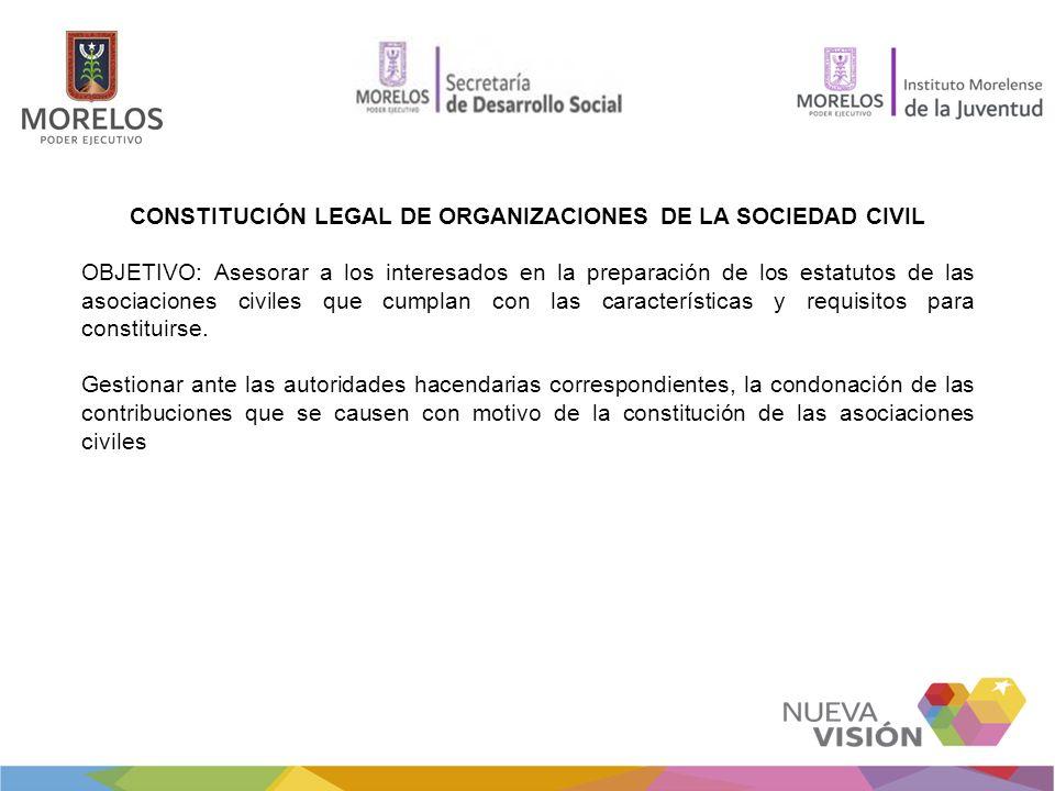 CONSTITUCIÓN LEGAL DE ORGANIZACIONES DE LA SOCIEDAD CIVIL