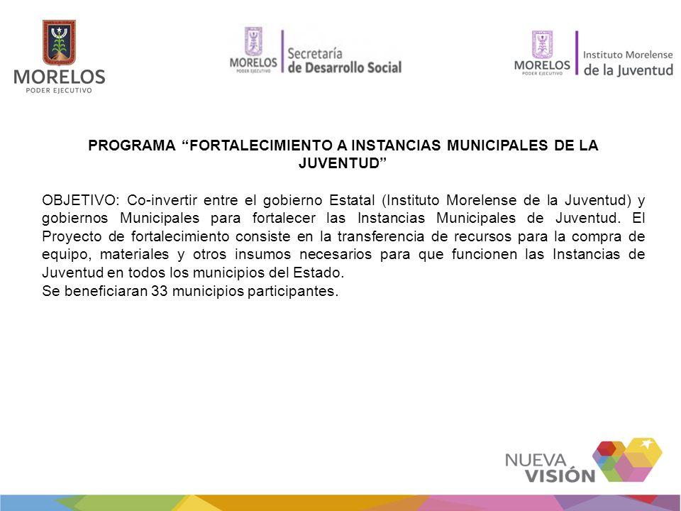 PROGRAMA FORTALECIMIENTO A INSTANCIAS MUNICIPALES DE LA JUVENTUD