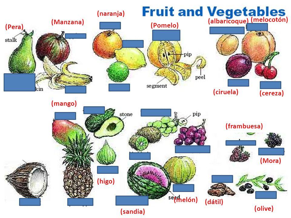 (naranja) (albaricoque) (melocotón) (Manzana) (Pera) (Pomelo) (Peər)) (ciruela) (cereza) (mango)