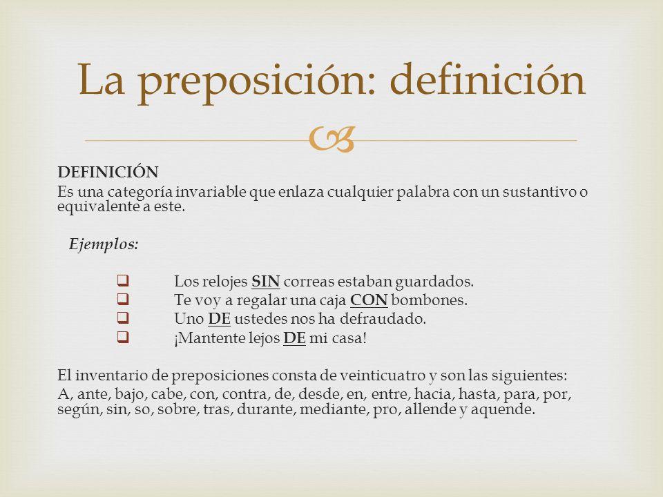 La preposición: definición