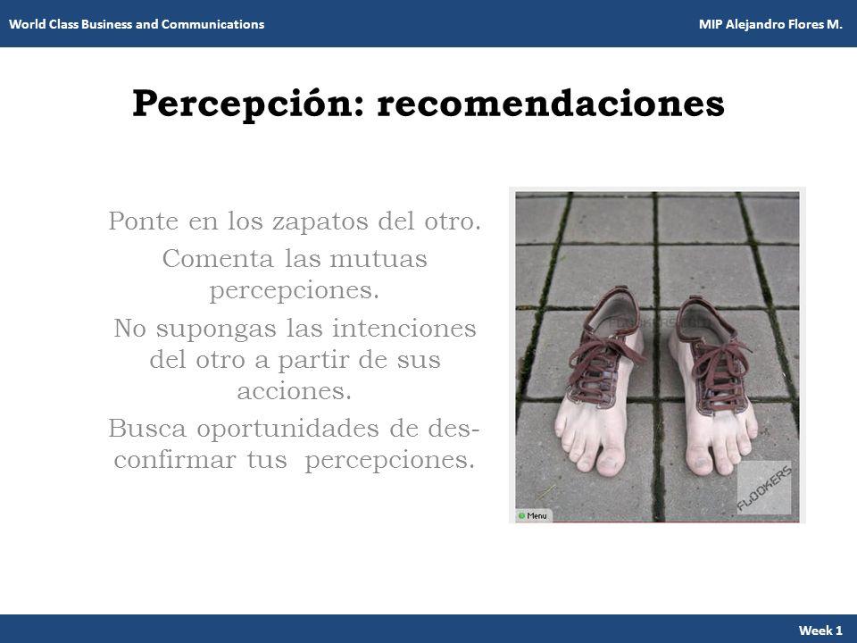 Percepción: recomendaciones