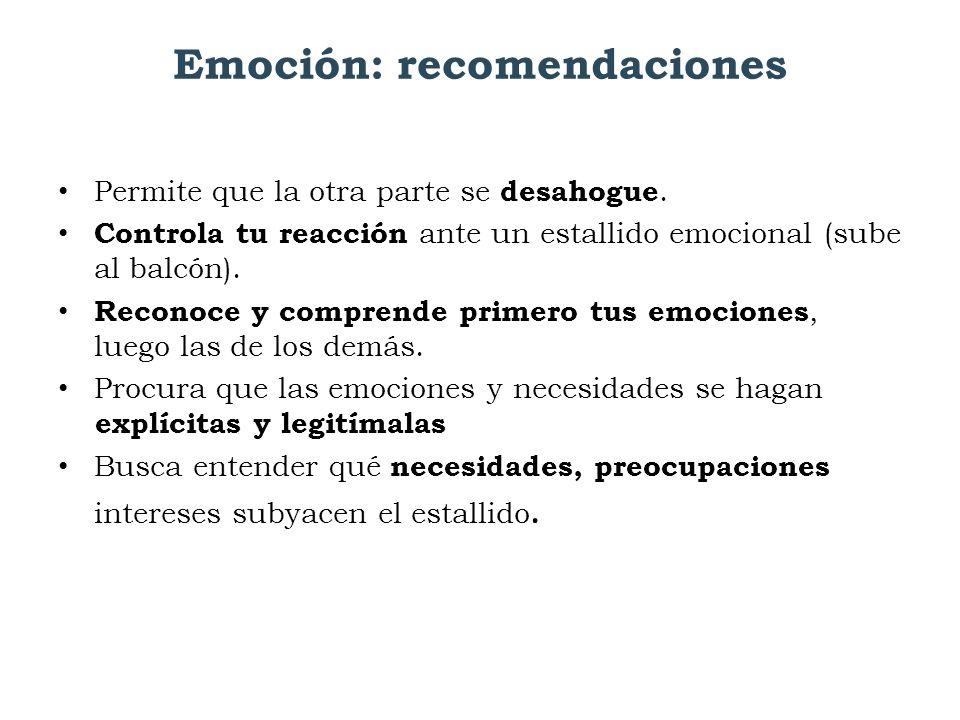 Emoción: recomendaciones