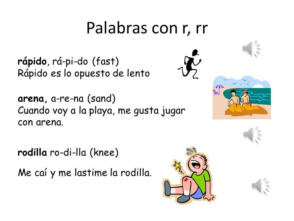 Palabras con r, rr rápido, rá-pi-do (fast)