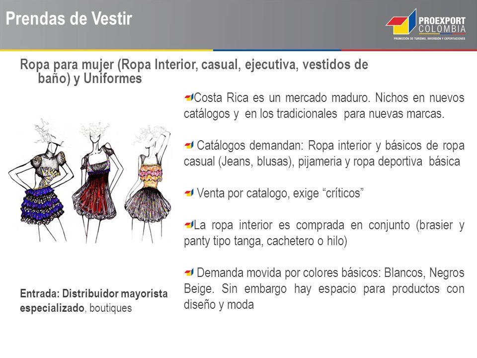 Prendas de Vestir Ropa para mujer (Ropa Interior, casual, ejecutiva, vestidos de baño) y Uniformes.