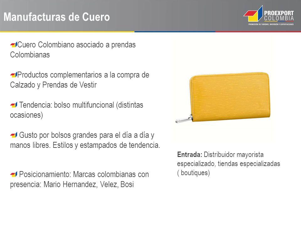 Manufacturas de Cuero Cuero Colombiano asociado a prendas Colombianas