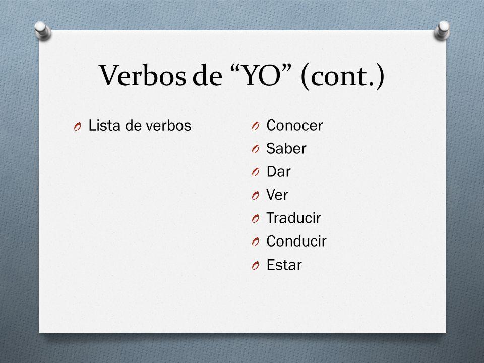 Verbos de YO (cont.) Lista de verbos Conocer Saber Dar Ver Traducir