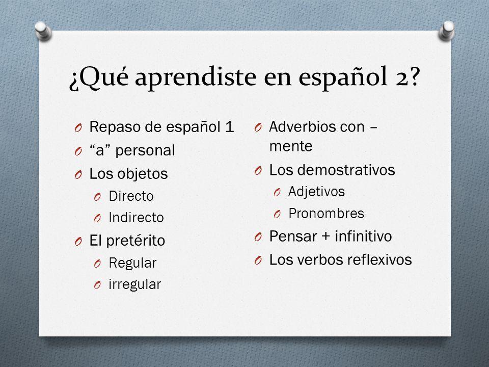 ¿Qué aprendiste en español 2