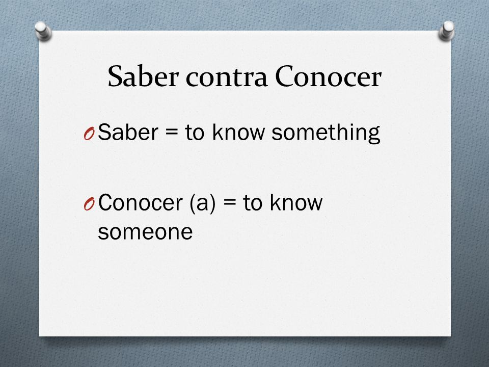 Saber contra Conocer Saber = to know something