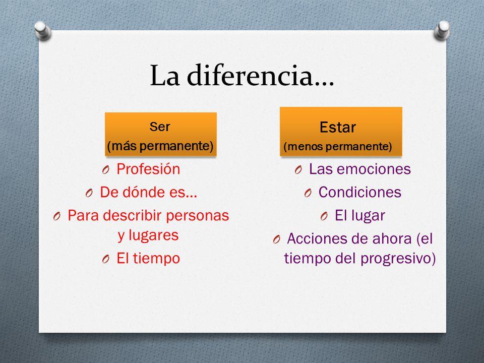 La diferencia… Estar Profesión De dónde es…