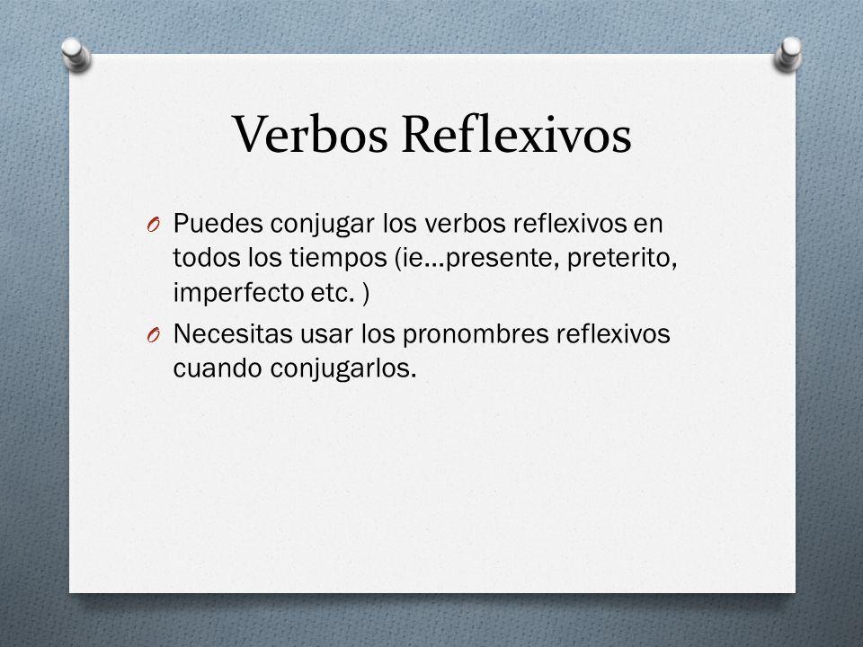 Verbos Reflexivos Puedes conjugar los verbos reflexivos en todos los tiempos (ie…presente, preterito, imperfecto etc. )