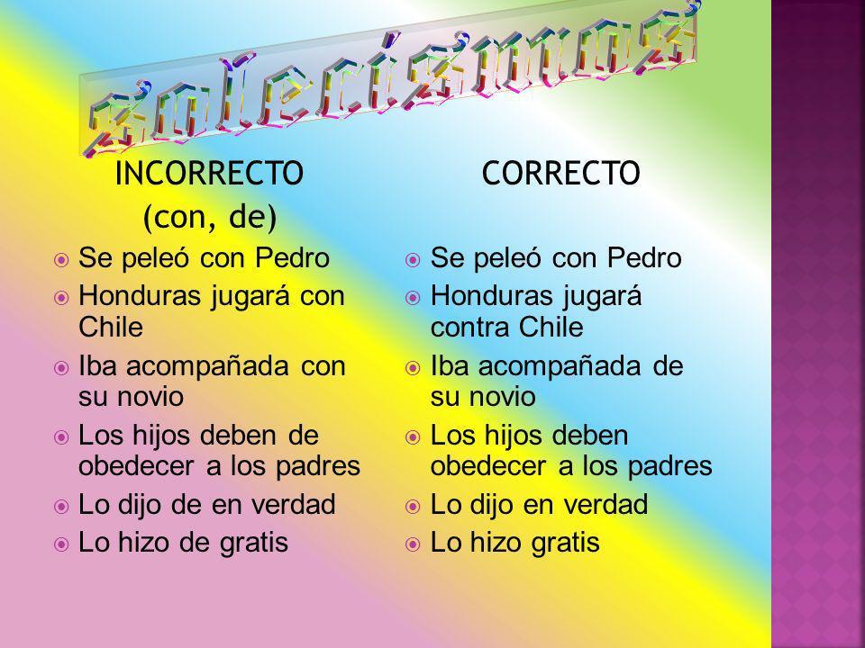 solecismos INCORRECTO (con, de) CORRECTO Se peleó con Pedro